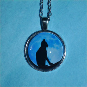 Jewelry - Silver Blue Moon Cat Dome Necklace